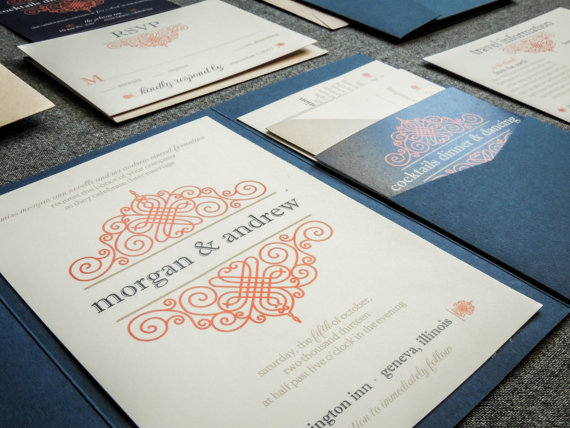 Свадьба - Pocketfold Wedding Invitation, Navy and Orange Invitations, Flourish Invitations, Tan, European Scroll - Pocketfold, No Layers, v3 - SAMPLE