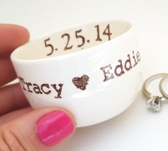 CUSTOM RING DISH Personalized Date Names Initials Wedding Ring