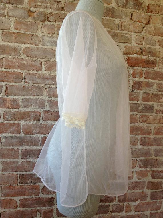 Wedding - Vintage MILCO NEW YORK Peignoir - Chiffon Peignoir - Robe - Mid Century - Sheer - Vintage - Nightie - Baby Doll - Peignoir Set - Lingerie
