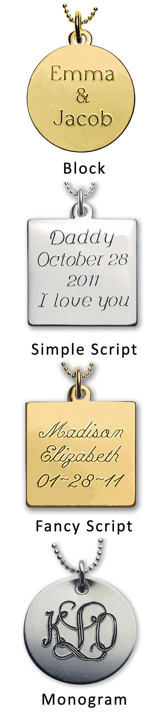 Mariage - Engraving - Add Engraved Message to back of Locket, a Photo Charm or Wedding Bouquet Charm