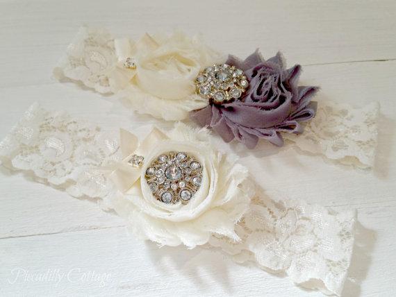 Grey Wedding Garter Set Garters Lace Vintage Gray Bridal Belt