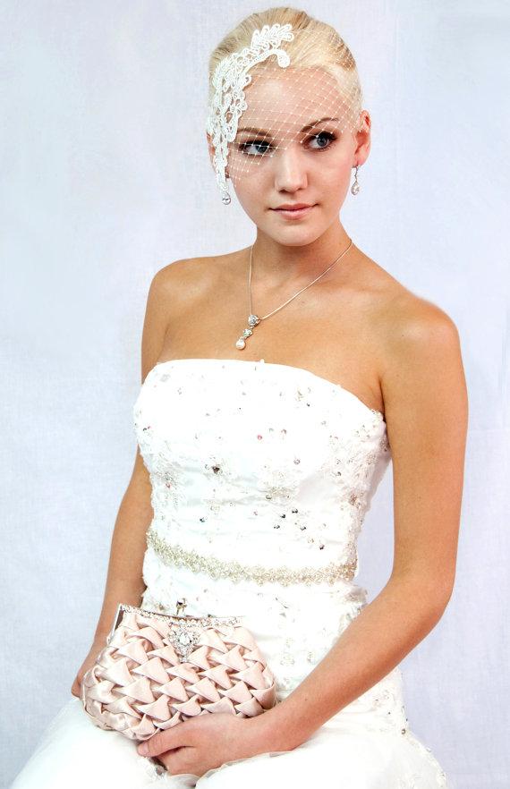 Hochzeit - Champagne satin bridal clutch wedding handbag bridal purse C311