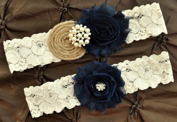 Wedding - Burlap Rustic Wedding Garter Set, Bridal Garter Set - Rustic Garter, Country Shabby Chic, Shabby Navy Wedding Garter Belt, Burlap Garter