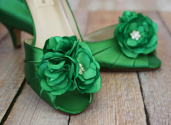 Wedding - Wedding Shoes -- Green Peep Toe Wedding Shoes with Matching Trio of Flowers Adornment