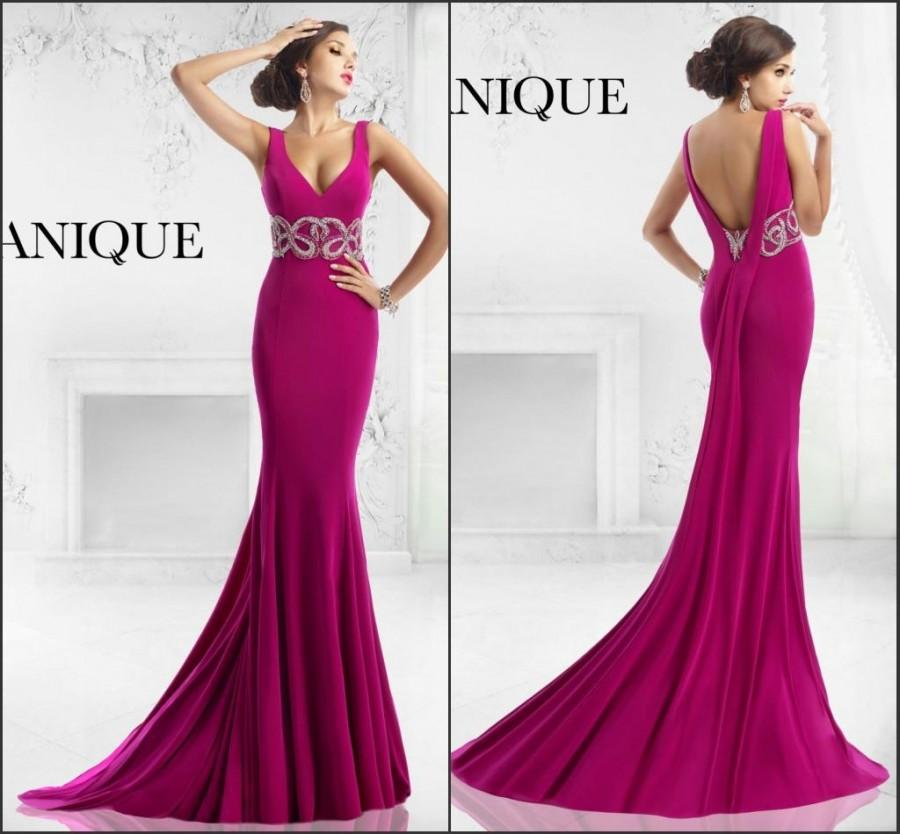 Wedding - Hot Pink Janique 2015 Evening Dresses V-Neck Sleeveless Modest Beaded Waist Low Zip Satin Sweep Long Sexy Custom Prom Dresses Gowns Party, $109.66