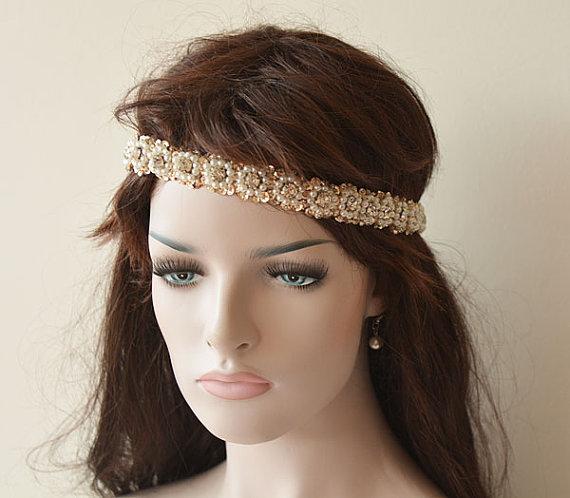 Nozze - Wedding Hair Accessory, Bridal Headband, Sequins Beads Handmade, Pearl Headband, Bridal Hair Accessory