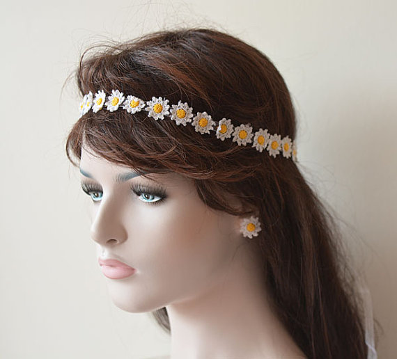 wedding-hair-accessories-wedding-crochet-daisy-flower-headband-flower ...