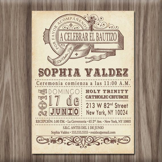 vintage boy or girl baby dedication invitation baptism invitation