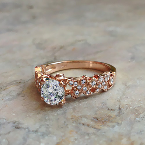 زفاف - Leaves Diamond Engagement Ring White Gold or Rose Gold Diamond Ring