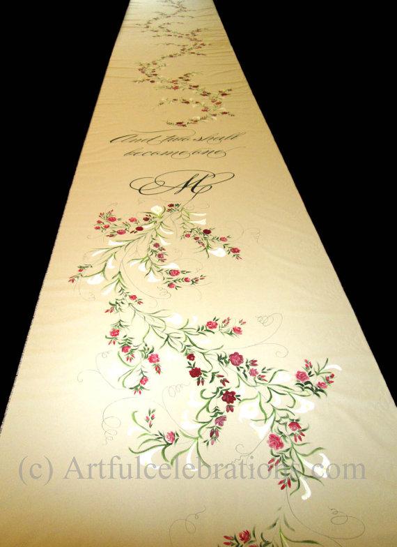 Wedding - Custom Wedding Aisle Runner Hand Painted, DEPOSIT for any length and design