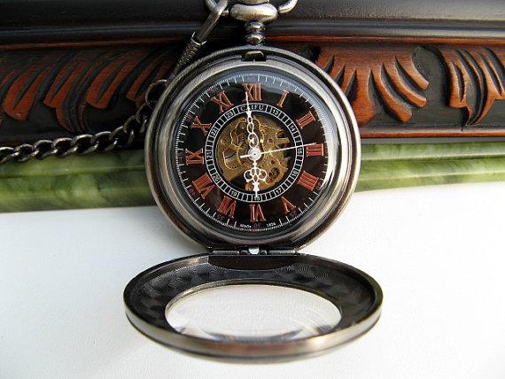 Свадьба - Antique Silver Gunmetal Engravable Pocket Watch, Mechanical 17 Jewel, Pocket Watch Chain - Groom - Groomsmen Gift - Watch - Item MPW45