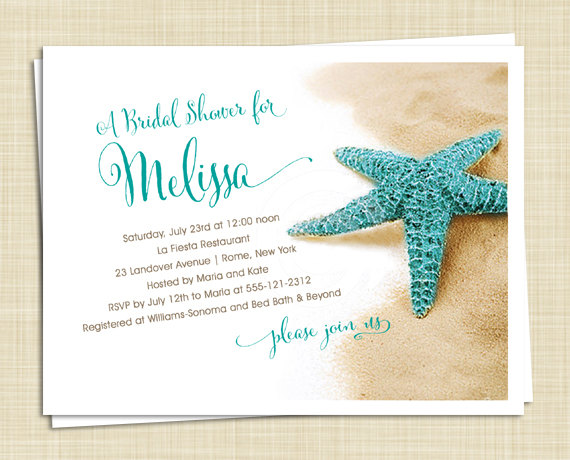 20 Bridal Shower Invitations - Starfish On Beach - Island