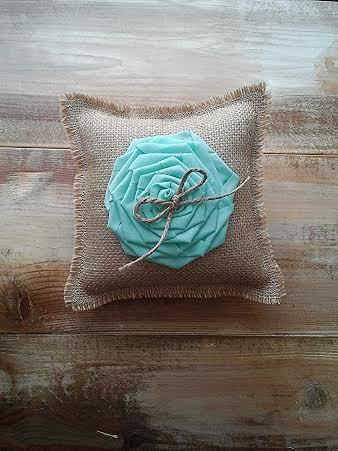 """Wedding - 8"""" x 8"""" Burlap Ring Bearer Pillow w/ Large Mint Rosette & Jute Twine Bow- CUSTOM COLORS AVAILABLE- Rustic-Country-Beach-Mountain- Wedding"""