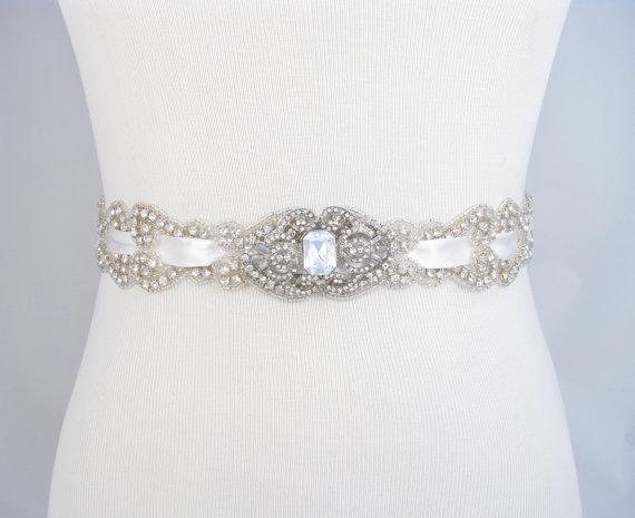 Wedding - Wedding Sash, Crystal Rhinestone Bridal Belt, Satin Ribbon Dress Sash, Beaded Bridal Belt, Jeweled Satin Wedding Gown Sash, 35 Satin Colors