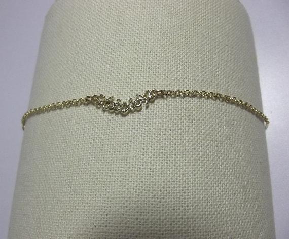 Mariage - Flower Vine Leaf Bracelet, 14K Gold Charm Bracelet, Wedding Jewelry, Mothers Day Gifts, Mom Sister Jewelry