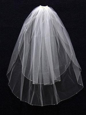 Mariage - 2 Layer Handworked Beaded Edge Wedding Veil 2012, White Wedding Veil, Ivory Wedding Veil