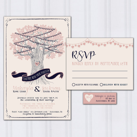 string light wedding invitations tree wedding invites navy blue and blush pink wedding invitation discount wedding sample - Navy And Blush Wedding Invitations