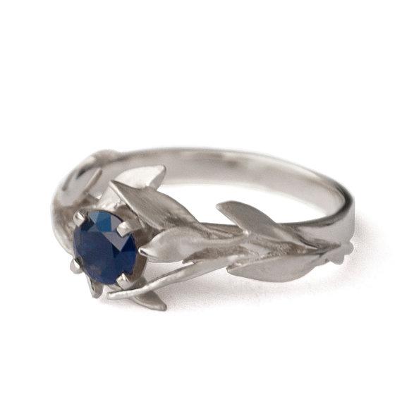 Wedding - Leaves Engagement Ring - 18K White Gold and Sapphire engagement ring, engagement ring, leaf ring, antique,September Birthstone,Recycled gold