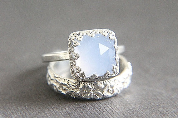 SALE - Vintage Style Chalcedony Wedding Ring Set - Eco Friendly Engraved  Wedding Band & Engagement Ring - Alternative Diamond