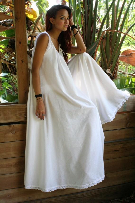 Wedding - White Cotton Full Swing Bridal Wedding Lingerie Romance Honeymoon Dream Nightgown Sleepwear
