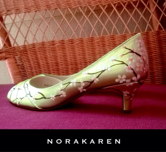 White Cherry Blossoms, Lime Green Shoes , Wedding Shoes Lime Green, Lime  Green Bridal Shoes, Cherry Blossoms Shoes, Sale Shoes, Lime Green