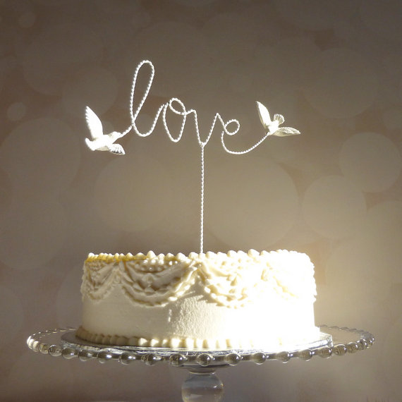 Wire Cake Topper Love Cake Topper Wire Love Wedding Cake Topper With Love Birds 2225695