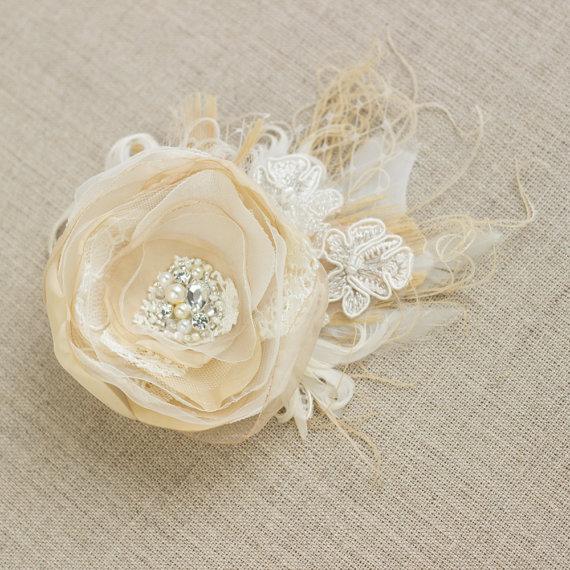 Wedding - Wedding headpiece, Wedding hair flower, Wedding bridal hair accessories, fascinator, peacock fascinator, vintage rustic beige ivory tulle