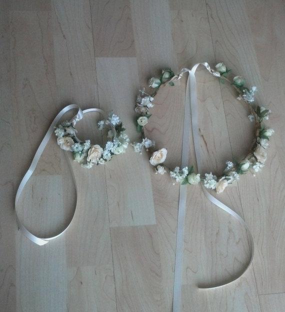 Mariage - Little girl Flower crown champagne ivory silk floral halo hair wreath baby headband photo prop wedding accessories Bridal custom for Meriam