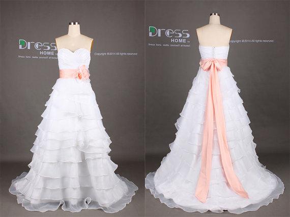 Свадьба - White Sweetheart Sash Belt A Line Floor Length Wedding Dress/Court Train Wedding Dress/White Wedding Dress/Sweetheart Wedding Gown DH348