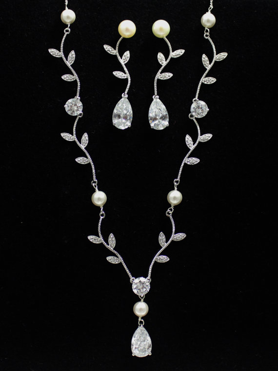 freshwater floral ivory clear pearl necklaces set necklace vine orig silver austrian statement theme crystal leaves by