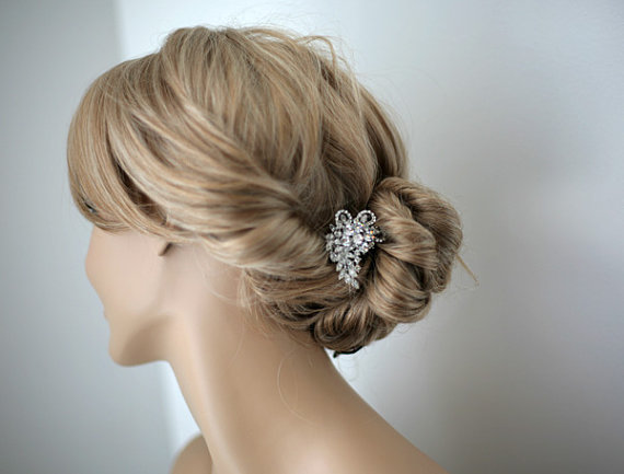 Wedding - Leah - Vintage style Wedding hair comb, bridal hair accessories, wedding rhinestone hair comb, bridal hair comb -Made to order
