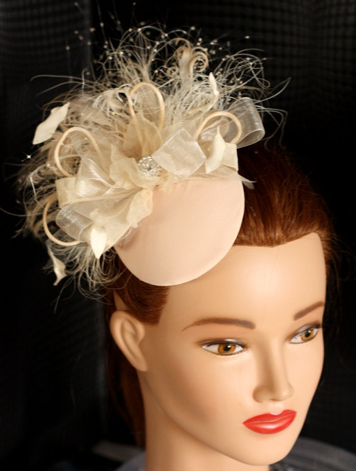 Mariage - BIRDCAGE VEIL vintage style wedding headdress. Champagne , nude wedding hat,bridal hat. Amazing fascinator, hair flower, crystals, feathers.