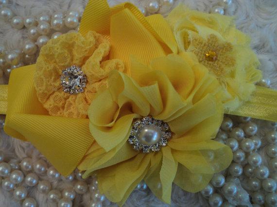 Wedding - BabyToddler Girl Easter Photo Cake Smash Wedding Sunshine yellow elastic headband with chiffon shabby chic flowers, bow, rhinestones pearls