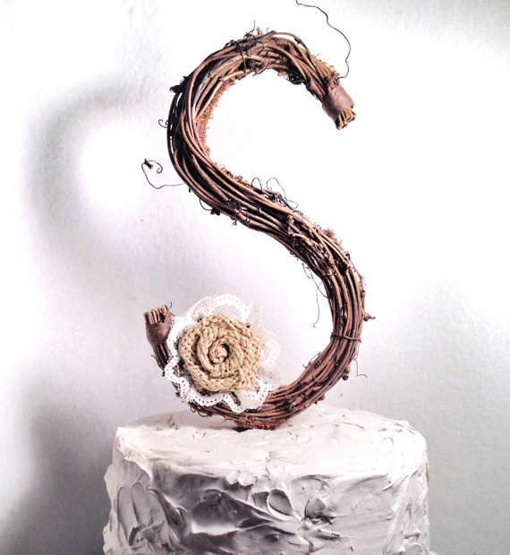 Rustic Wedding Letter S Rustic Twig Wedding Cake Topper 2225716