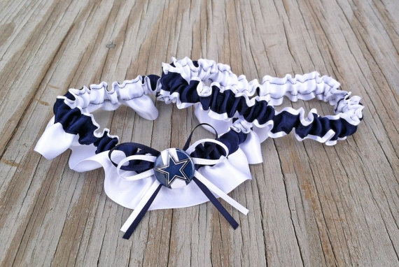 Wedding - Dallas Cowboys Navy Blue & White Bridal Satin Wedding Keepsake Or Garter Set