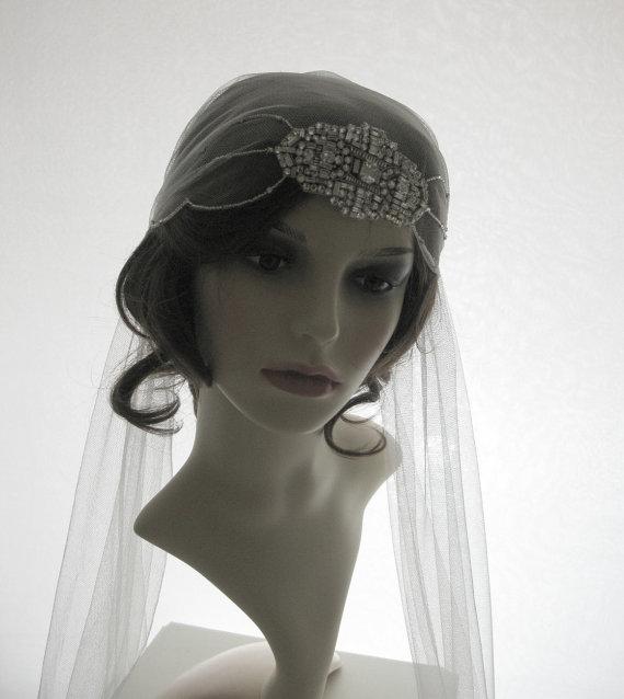Mariage - Couture bridal cap veil -1920s wedding  veil - Clara