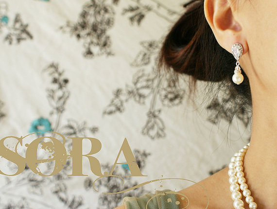 Mariage - Bridal Jewelry Wedding Earrings Clear Cubic Zirconia Teardrop Earrings Bridal Earrings Wedding Jewelry