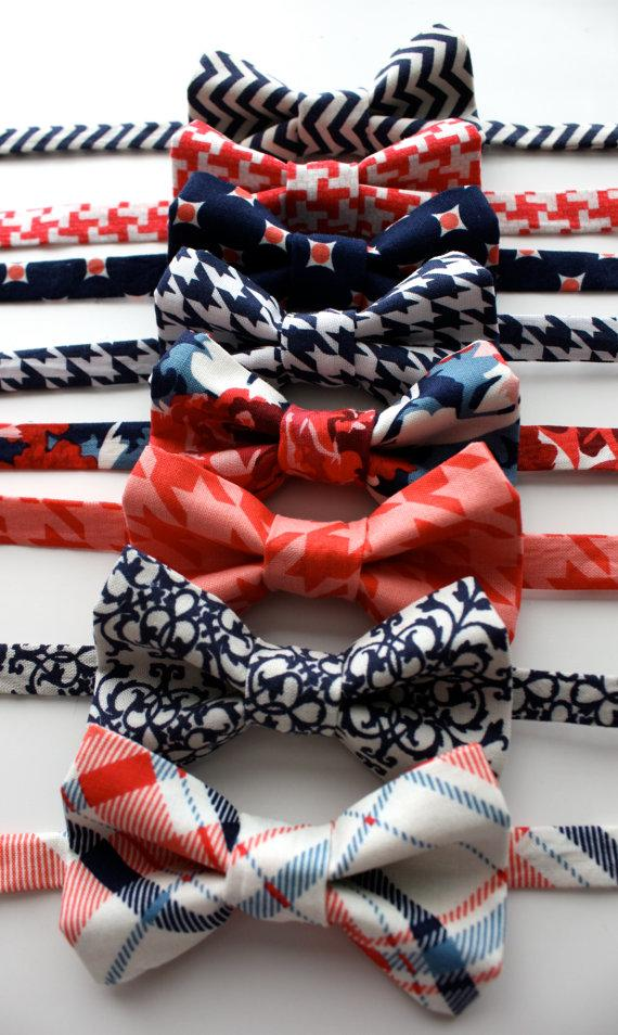 Свадьба - Little and Big Guy Bow Tie Bowtie - Navy and Coral Collection - (Newborn-Adult) - Baby Boy Toddler Teen Man - (Made to Order)