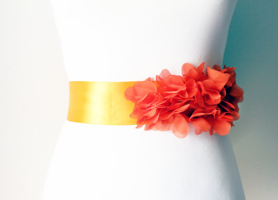 Mariage - Bridal Orange Chiffon Flowers Posh Ribbon Sash Belt - Wedding Dress Sashes, Night Dress Belts - Ready To Ship