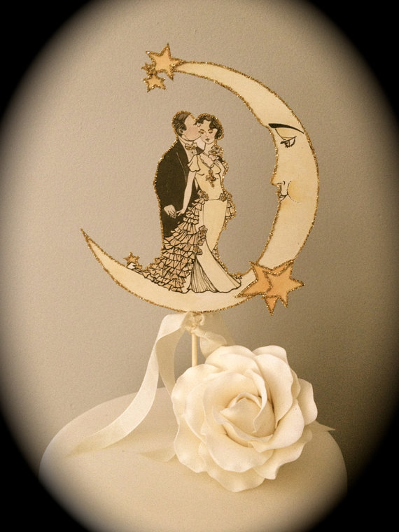 Mariage - Art Deco Moon Wedding Cake Topper - Vintage Inspired - Featured in Brides Magazine - Outlined in Gold Glitter