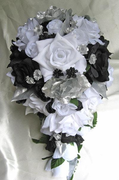 Свадьба - Free Shipping Wedding bouquet Bridal Silk flowers 21 pcs package Cascade BLACK SILVER WHITE  centerpiece boutonnieres corsages