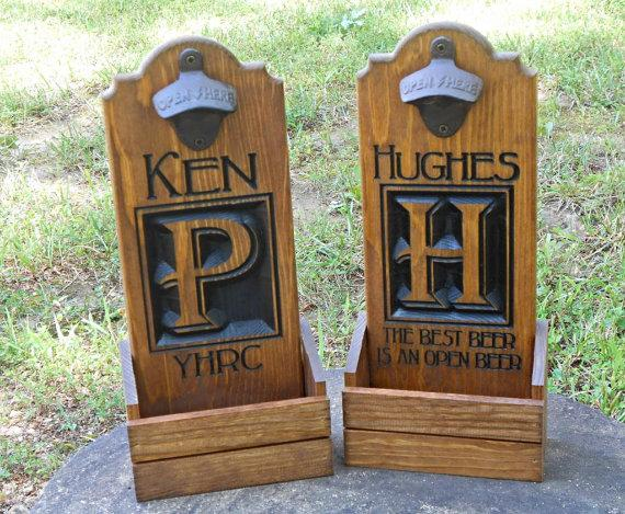 Wedding - Bottle cap catcher - Personalized Wedding Gift - Christmas gift for him- Wooden Beer pub sign - Groomsmen Gif
