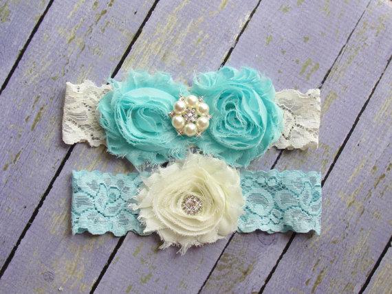 Mariage - ON SALE 100+ Colors, Garter Wedding, Wedding Garter Belt, Something Blue, Aqua Garters Turquoise Garter, Custom Garter, Garter Sets