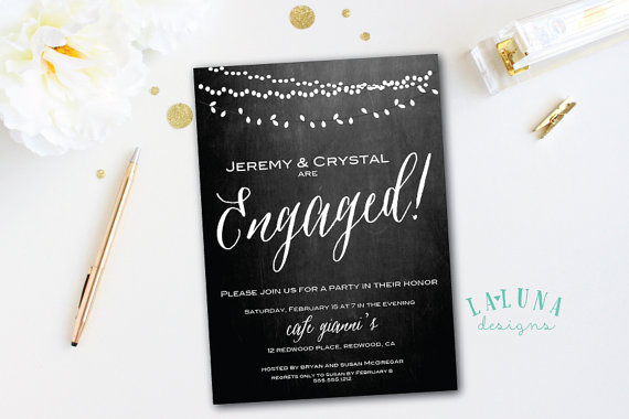 Wedding - Engagement Party Invitation, Chalkboard Engagement Party Invite, Engagement Dinner, Rehearsal Dinner, DIY Printable