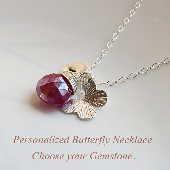 Свадьба - Sterling Silver Wire Wrapped Personalized Stone Necklace, Birthstone Jewelry Bridesmaids Party Necklace, Bridal, Special Occasion