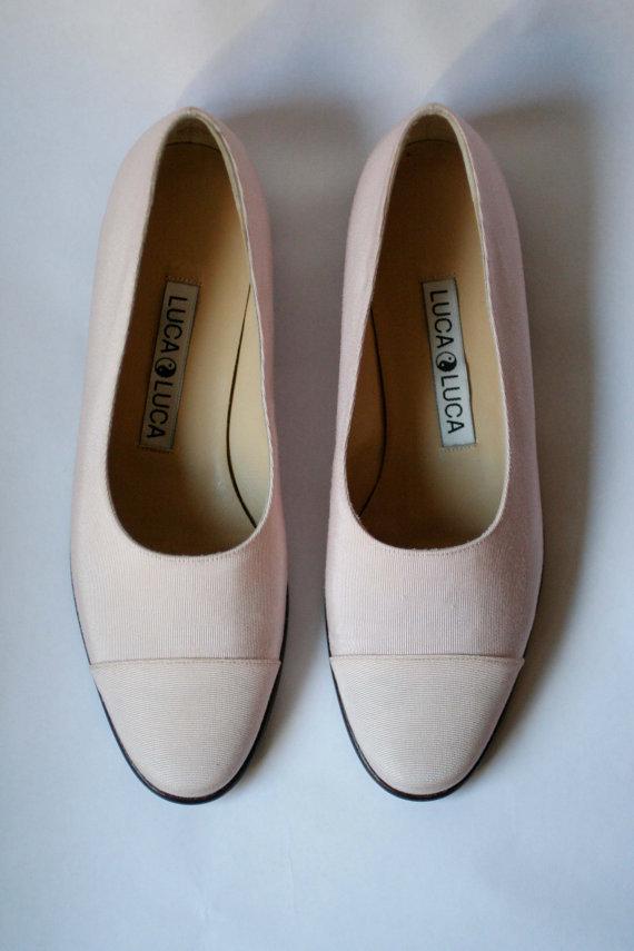 Mariage - SALE Pink Silk Ballet Shoes / Vintage Luca Luca /  size 6.5 / Palest Pink Flats / Wedding Shoes