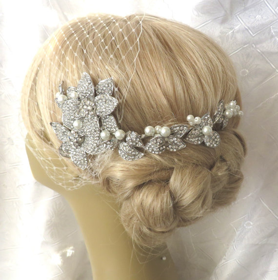 Mariage - Birdcage Veil  and a Bridal Hair Comb (2 Items) Headpieces Bridal Comb Swarovski Pearls Wedding comb bridal veil headpieces
