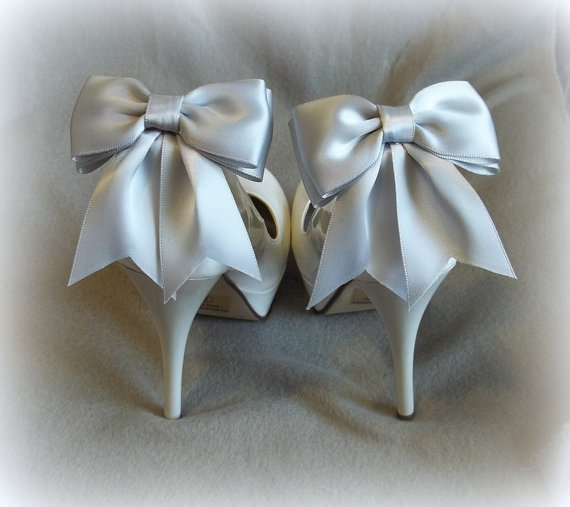 Hochzeit - Wedding Bridal Shoe Clips -  Satin Bows - MANY COLORS AVAILABLE womens shoe clips wedding shoes clip Best Seller
