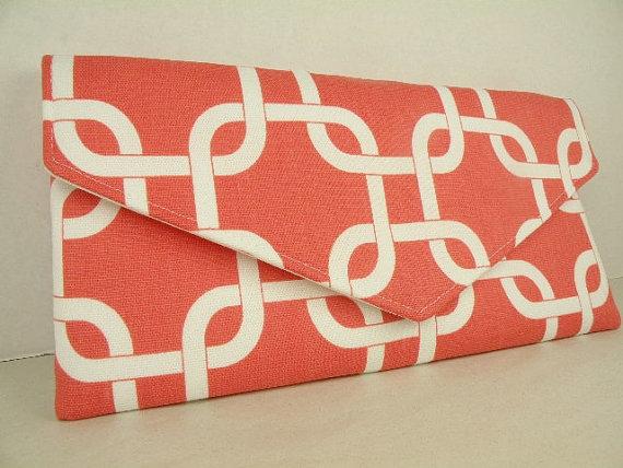 Mariage - Envelope Clutch/Purse/Wedding/Bridesmaid Gift--Coral & White-GOTCHA LINKS