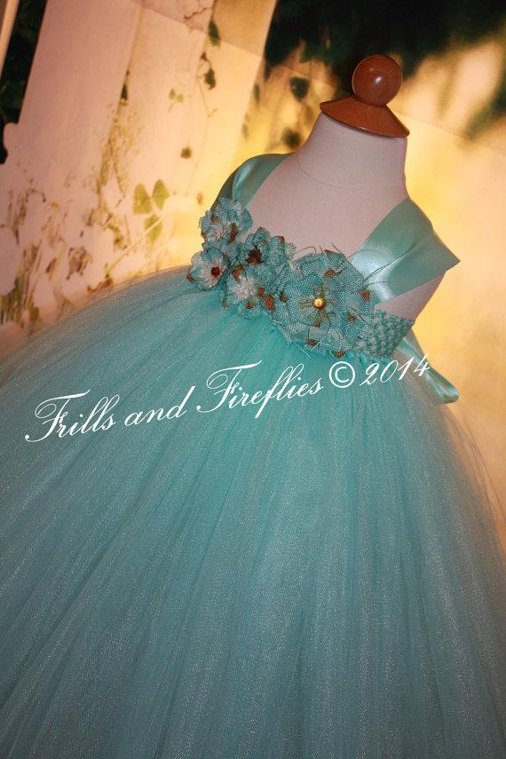Свадьба - Tiffany Blue Flower girl dress, Rustic Shabby Chic Flowergirl Dress with Satin Ribbon Shoulder Straps, Weddings, 18-24 Mo 2t,3t,4t,5t, 6